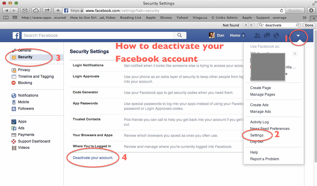 How to deactivate your Facebook profile